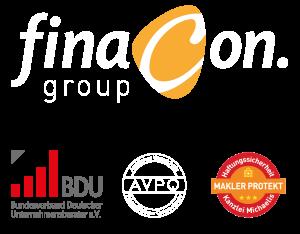 Logo Finacon und Partner BDU, MaklerProtekt, AMPQ